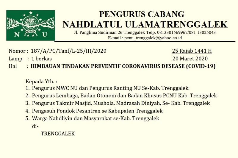 surat himbauan PCNU trenggalek tindakan preventif virus corona covid19-001