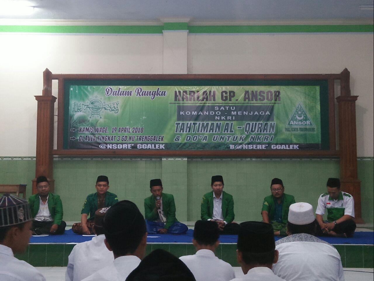 PAC GP Ansor Kota Trenggalek memperingati Harlah GP Ansor dengan khotmil Qur'an bil ghaib dan istigotsah di aula Gedung NU pada Kamis (19/4/2018) kemarin.