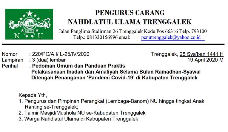surat edaran pcnu trenggalek tentang pedoman umum panduan praktis pelaksanaan ibadah dan amaliyah bulan ramadan syawal di tengah pandemi corona (covid-19)