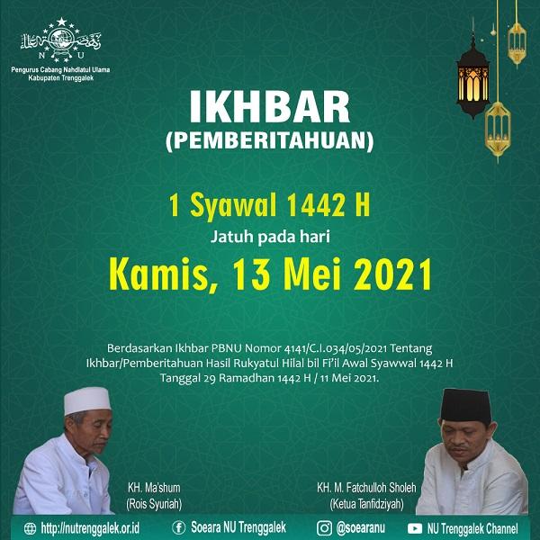1 syawal 1442 hari kamis 13 mei 2021